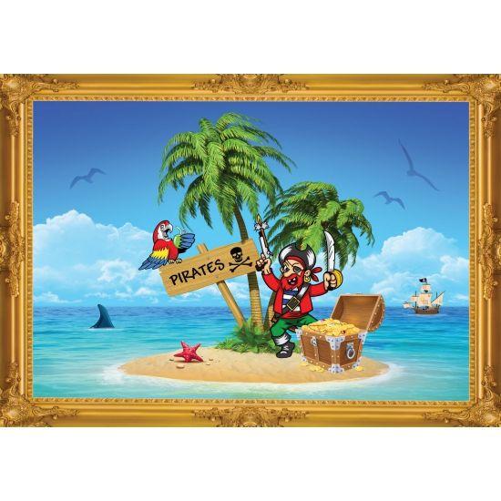 Piraten poster, piraten eiland. Formaat A2 - 59 x 42 cm. Leuke piraten thema poster voor op een piratenfeestje of kinderkamer.
