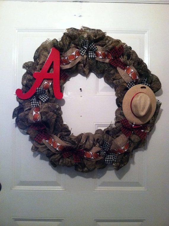 Camoflauge Alabama Burlap Wreath Camo Bama by ElsiesCreativeDesign, $50.00