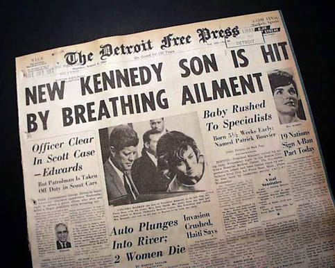 Patrick Kennedy, born prematurely in August 1963, died after several tense days in the hospital.   (Timothy Hughes, Rare & Early Newspapers)