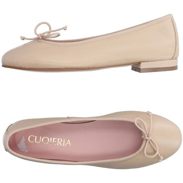 Cuoieria Ballet Flats ($61) ❤ liked on Polyvore featuring shoes, flats, beige, bow ballet flats, beige shoes, ballet shoes, leather ballet flats and beige ballet flats