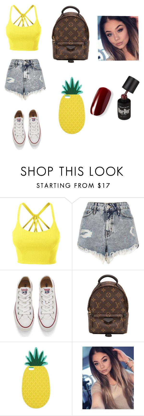 """Untitled #233"" by timcaaa on Polyvore featuring LE3NO, River Island, Converse, Louis Vuitton and Miss Selfridge"