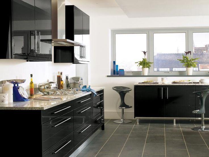 Black High Gloss Lacquer Kitchen Design Ipc431 - High ...