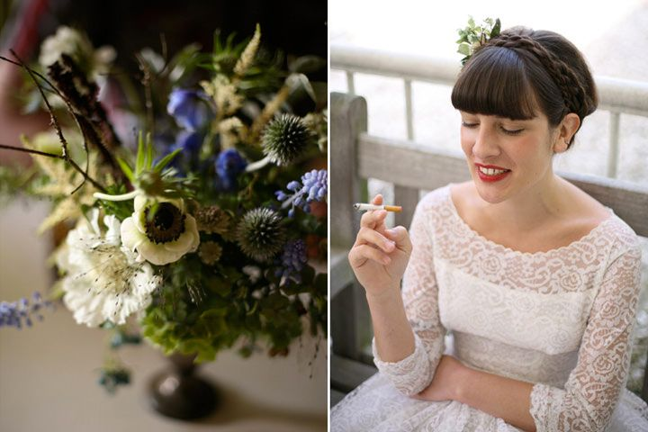 blue and white centerpiece with anemones, scabiosa, thistle and grape hyacinth | floral design: Amy Merrick