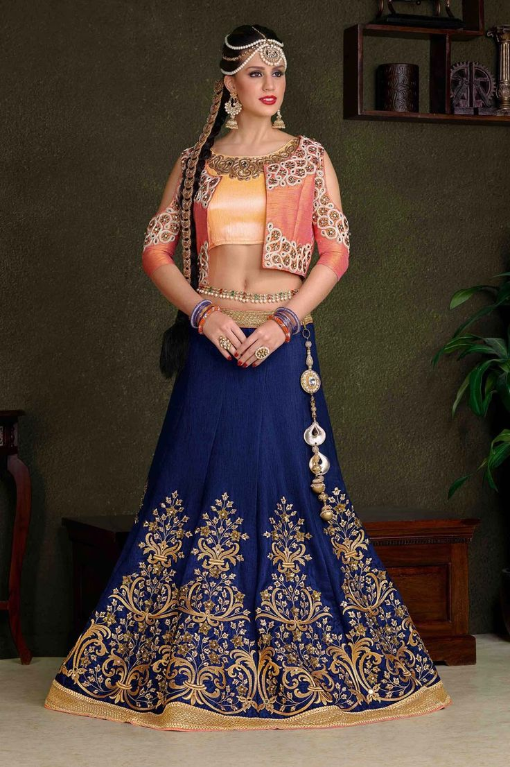 Blue Kalidar wedding wear lengha choli with Designer jacket