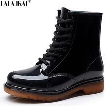 Nova moda das mulheres do Vintage Martin botas de chuva Lace Up salto baixo cunhas femininos botas de borracha para dias de chuva sapatos de inverno XWN0139-5(China (Mainland))