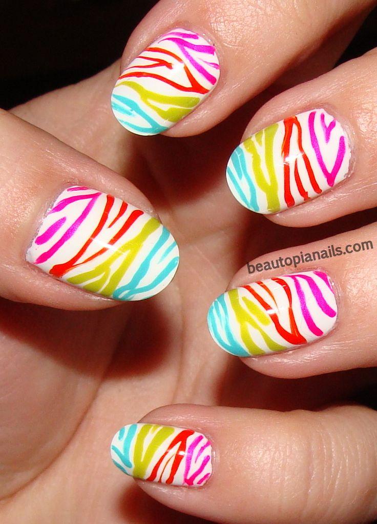 neon zebra: Zebras Stripes, Nails Art, Rainbows Zebras, Nail Designs, Summer Nails, Zebra Nails, Zebras Nails, Nail Art, Nails Designs