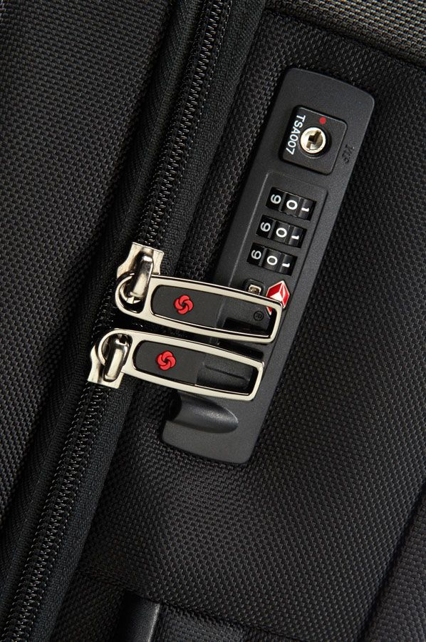 The side of the case has a built-in TSA combination lock that allows you to lock the main laptop compartment. You will need a TSA lock for all travel into and within the USA.