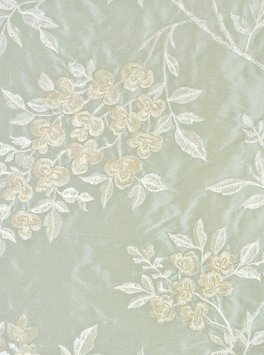 Wisteria Silk Embroidered Fabric A Pale Aqua Silk Fabric