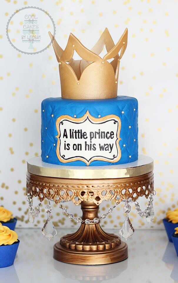 Baby Shower Cake. A Little Prince Is On His Way. Blue And Gold.