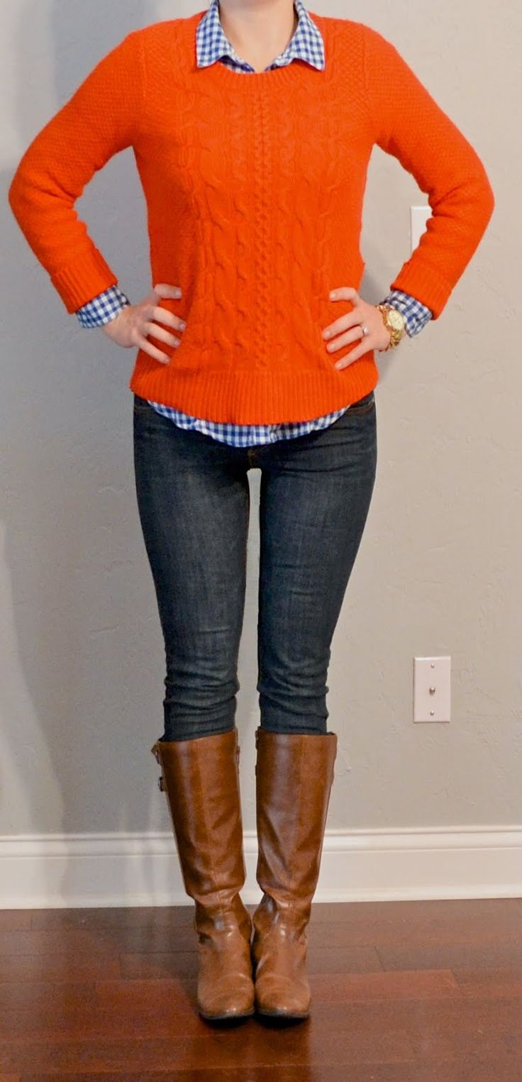 Outfit Posts: outfit post: orange sweater, blue plaid shirt, skinny jeans, riding boots
