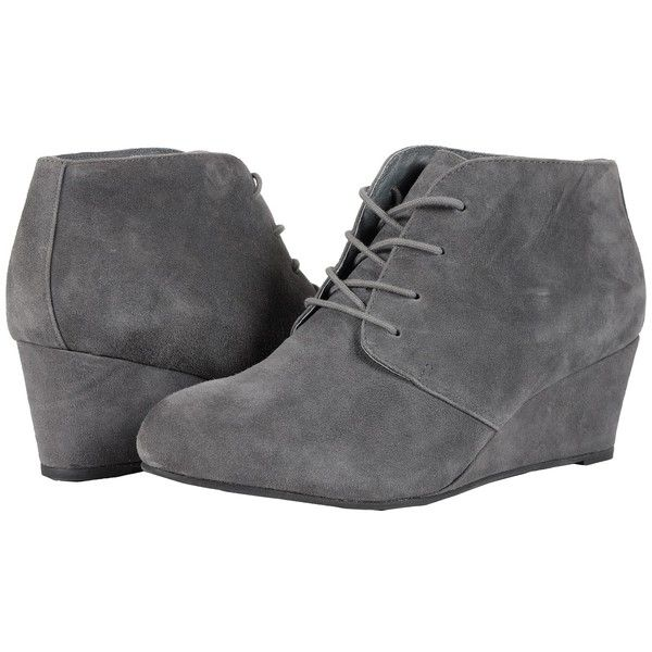 VIONIC Elevated Becca Wedge Lace-Up (Grey) Women's Wedge Shoes ($160) ❤ liked on Polyvore featuring shoes, boots, short boots, leather ankle boots, gray boots, grey leather boots and grey boots