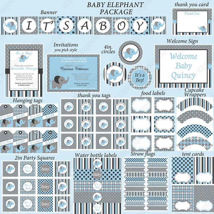 DIY Baby Boy Elephant Deluxe Collection by CupcakeExpress on Etsy