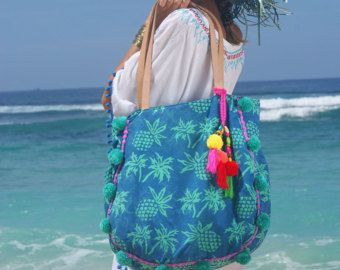 Pom Pom playa bolso / bolsa/borlas Yoga bolsas bolsa/verano