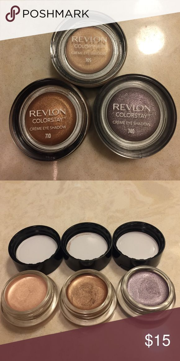 Reckon Colorstay Cream Eyeshadow - Set of 3 Brand new swatched 1x each- 705 (beigey shimmer) 710 (shimmery copper) and 740 (shimmery purple). Revlon Makeup Eyeshadow