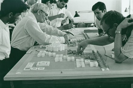 Louis Kahn working on a model of the National Assembly complex in Dhaka, Bangladesh. Louis I. Kahn Collection, The University of Pennsylvania and the Pennsylvania Historical and Museum Commission. Photo: George Alikakos