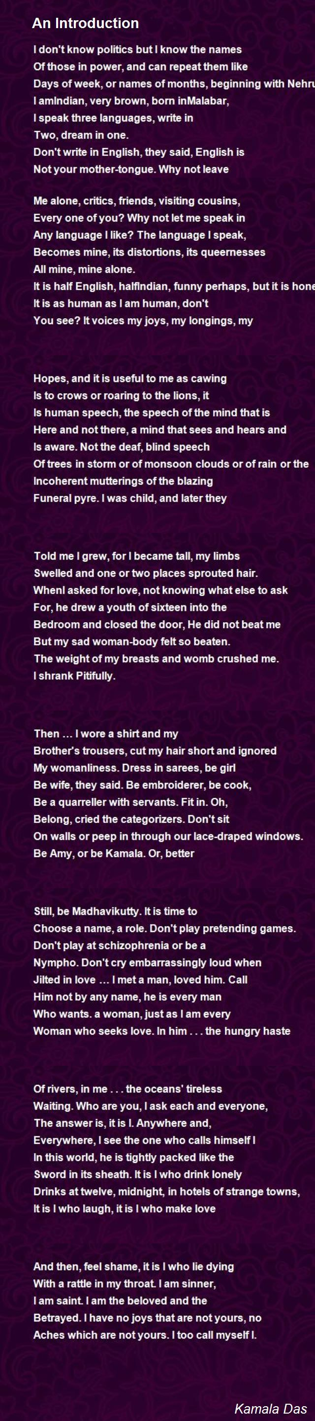 An Introduction Poem By Kamala Da Hunter Name Of Month Writing Prompts Summary The If Rudyard Kipling Pdf Download