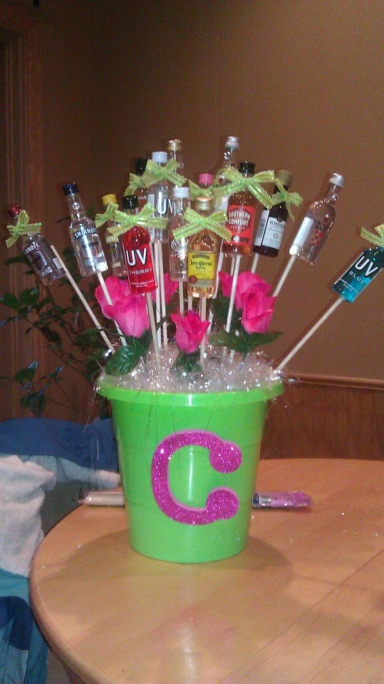 "21st Birthday ""flowers"" with mini alcohol bottle's I did for my little sisters 21st"