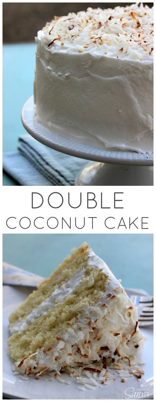 Double Coconut Cake is a two layered light coconut cake filled and frosted with coconut meringue frosting and sweetened flaked coconut.