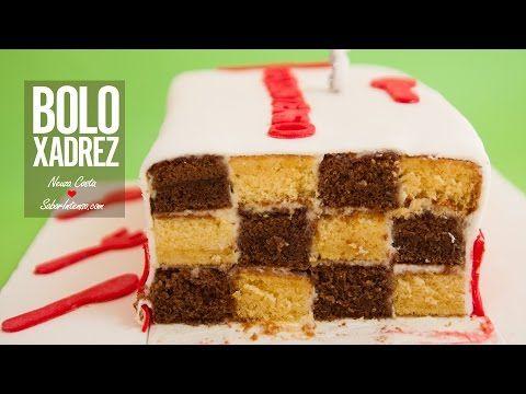 Receita de Bolo de Aniversário SaborIntenso V (Bolo Xadrez) - YouTube