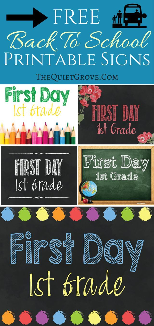 5 FREE Back to School Printable Sign Sets. Free First day of School Printable signs. Pre-k, Kindergarten, 1st grade- 12th Grade. Ready to print, frame and use for photos.