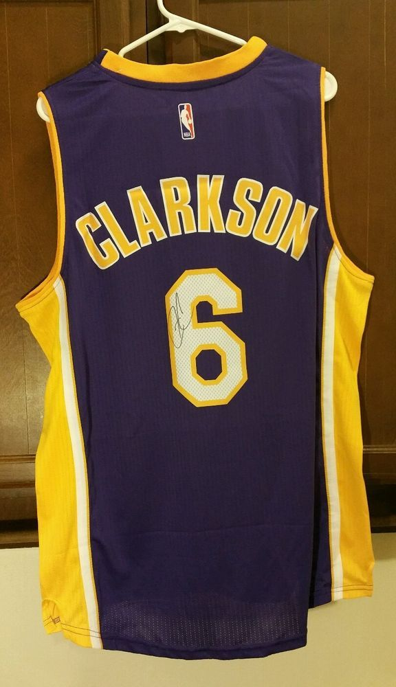659126c88 ... best jordan clarkson 6 signed los angeles lakers autographed purple  jersey from 100.0 43e1e c8f8f