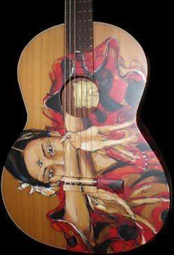 Cuerpo de Madera, Alma de Mujer (guitarra Francisco Bros pintada a mano por el pintor y musico uruguayo Claudio Taddei)