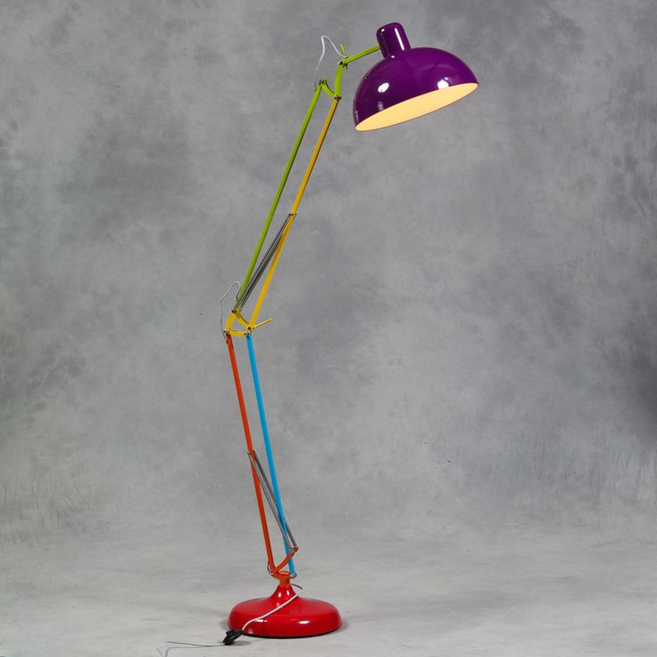 Large Retro Multicoloured Floor Lamp Vintage Anglepoise Style Metal Standing New in Home, Furniture & DIY, Lighting, Lamps | eBay