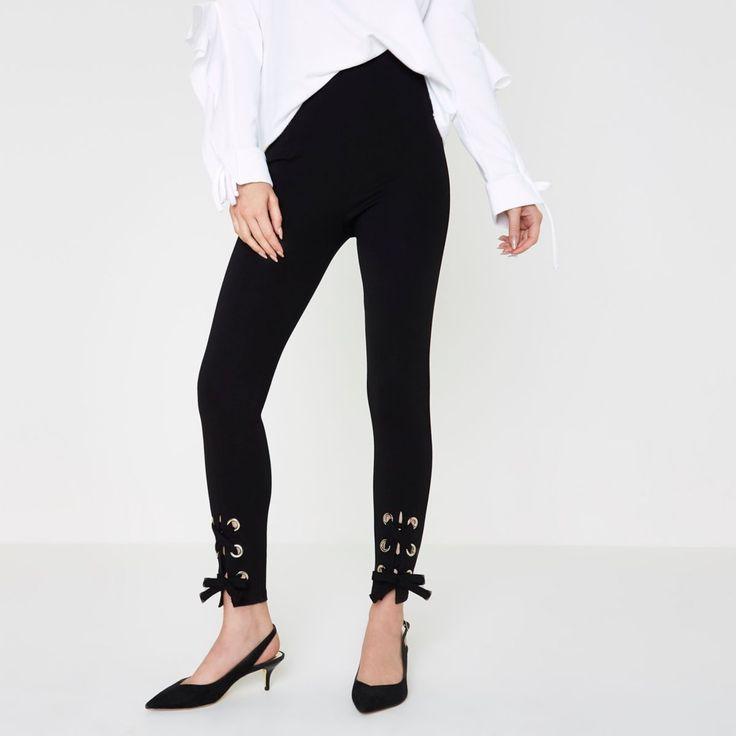 Black eyelet tie-up hem leggings - Leggings - Trousers - women