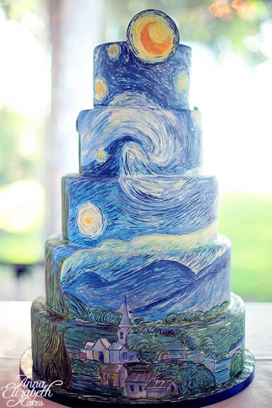 Starry Night Cake ~ Says: I loved creating this cake inspired by Van Gogh's Starry Night. It took over 30 hours to hand paint adding the brush strokes layer by layer to create the look of an oil painting.