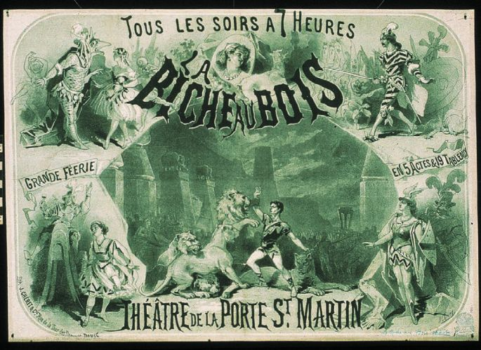 Jules Cheret, poster for La biche au bois, 1866. Cheret's early green and black poster used the multiple image format so popular in the 1860s. The lettering is a harbinger of the swirling forms marking his mature style.