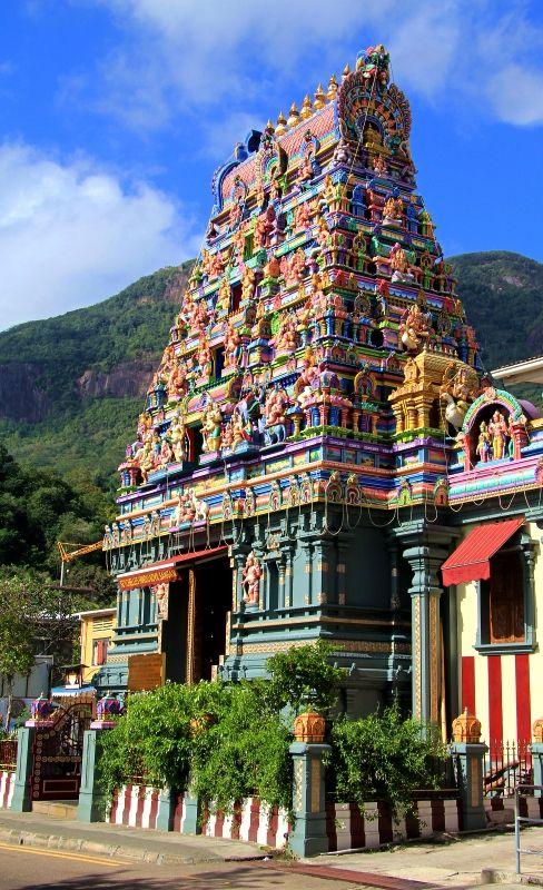 In Victoria, de main town in de Seychelles archipelago, de capital, a view of de Hindu Temple dedicated to de Hindu God Vinayagar, God of security n prosperity. Victoria, Grand Anse Mahe, Mahe_ Seychelles