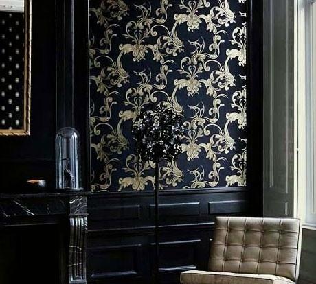 Gold Semi Reflective on Black Wallpaper