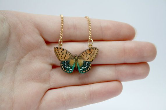 Miniature Wooden Butterfly Necklace by ladybirdlikes on Etsy, £12.00
