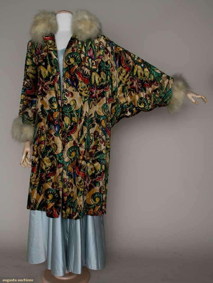 Augusta Auctions, March 21, 2012 NYC, Lot 275: Velvet Print  Lame Opera Coat, C.1927