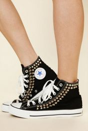 Converse Joey Studded: Shoes, Fashion, High Tops, Free People Clothing, Studs Converse, Studded Converse, Black Conver, Joey Studs, Clothing Boutiques