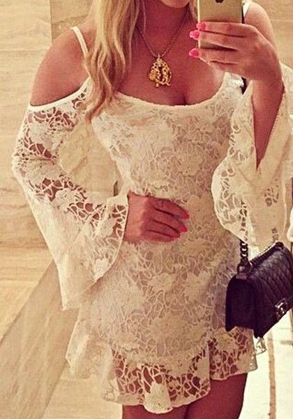 Beige Off-Shoulder Lace Dress