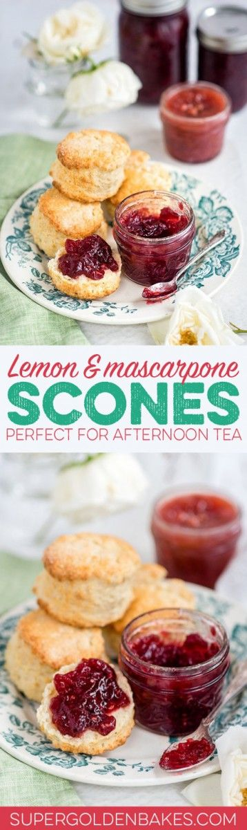 Lemon mascarpone scones - heavenly soft and fragrant scones, perfect for afternoon tea! Serve with homemade jam and clotted cream.