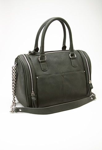 Zippered Faux Leather Satchel | Forever 21 - 1000055799