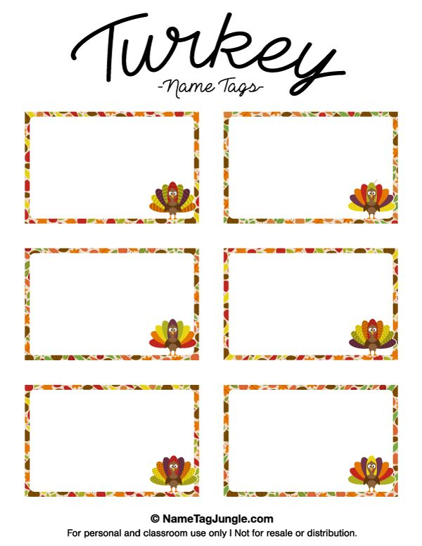 Free Printable Turkey Name Tags The Template Can Also Be
