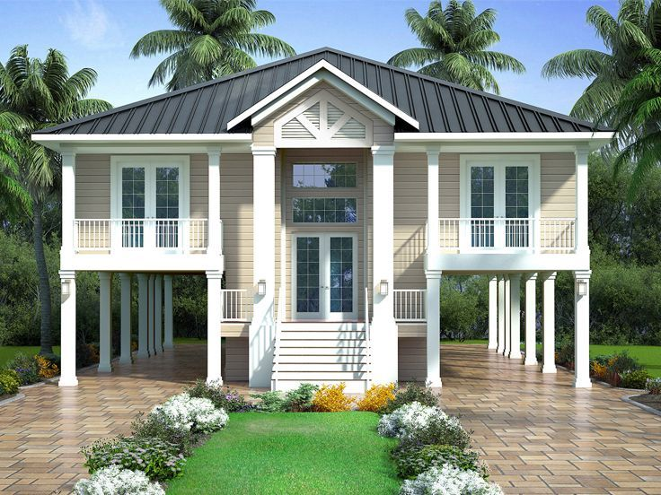 069h 0074 Beach House Plan Suitable For Empty Nesters Beach House Plan Beach House Plans Coastal House Plans