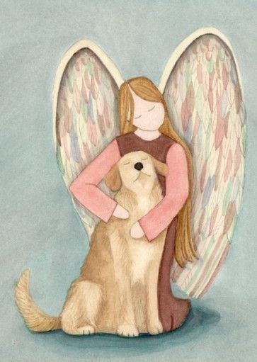 Golden Retriever with Angel / Lynch signed folk by watercolorqueen