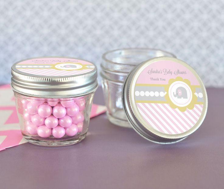 Pink Elephant Small 4 Oz Mason Jars