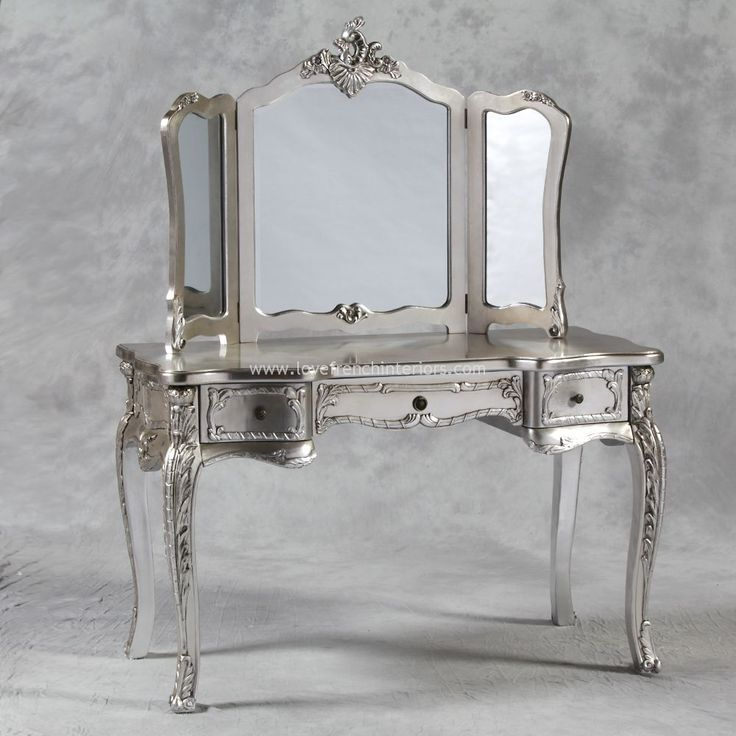 Large Silver Dressing Table Mirror Set This would be lovely for my planned  dressing room299 best toaletki images on Pinterest   Antique furniture  Art  . Mirrored Makeup Vanity Set. Home Design Ideas