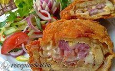 Sajttal, baconnal, lila hagymával töltött csirkecomb filé recept fotóval