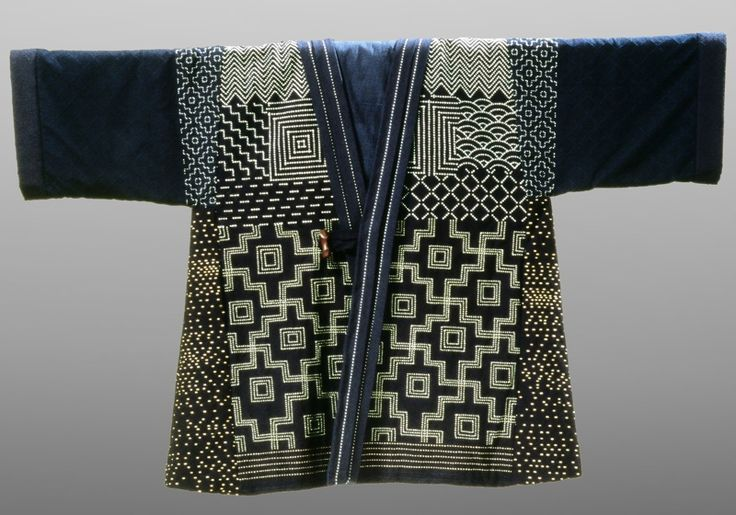 To increase warmth and to recycle whatever fabrics they possessed, northern farmers' wives and daughters developed sashiko. Textile fragments were patched together with a running stitch of heavy double cotton thread. The stitching itself helped to strengthen the fabric, multiple layers increased their warmth.Sashiko was produced almost exclusively in homes for the family's personal use. ... in the twentieth century the style of stitching became more decorative.