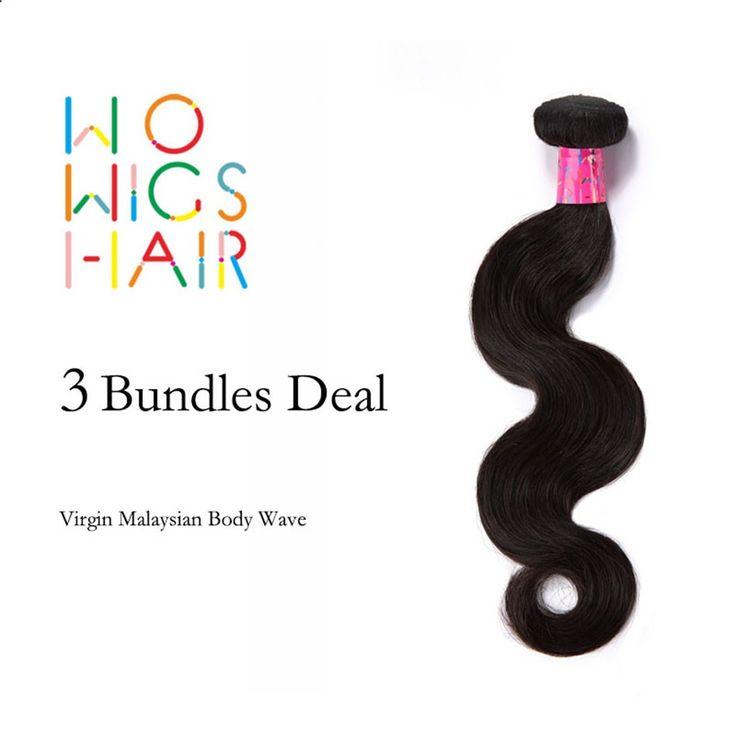 Hair Bundles - WoWigs Cheveux Non Transformés Malaisiens Vierges Cheveux Vague de Corps 3 Pcs Lot, 100% de Cheveux Humains Ondulés Vierge Cheveux Malaisiens Bundles Gros