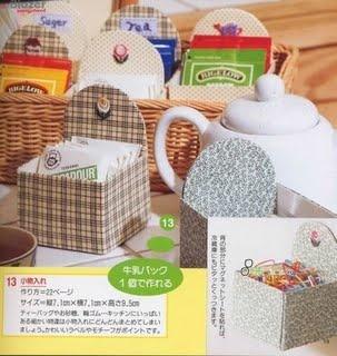 porta chá feito reciclando caixas tetra pak