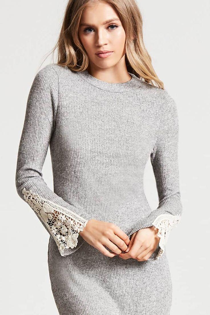 Ribbed Knit Crochet-Sleeve Dress