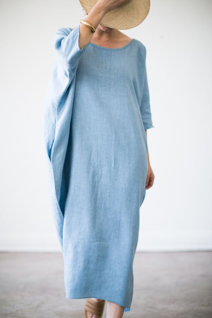The new cocoon dress, debuting at the Echo Park Craft Fair in May 2015, is long and lightweight with a feminine neckline.Made of 100% linen, one size fits all.White is in stock and will ship immediately. Black, citrine, chambray and indigo require a 3-4 week lead time.