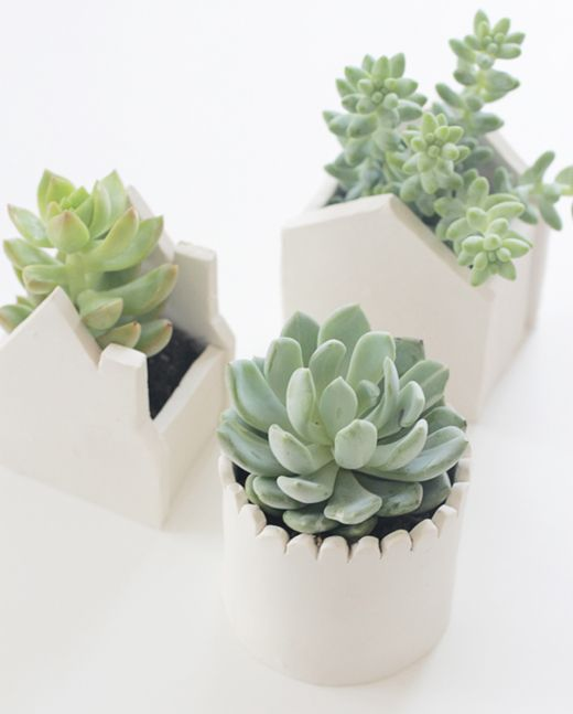 DIY pots by Say Yes to Hoboken.: Plants Can, Succulents Planters, Succulents Can, Flowers Pots, Gardens Projects, Polymer Clay, Clay Houses, Diy Clay, Clay Pots